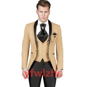 Classic One Button Handsome Groomsmen Shawl Lapel Groom Tuxedos Men Suits Wedding Prom Best Man Blazer ( Jacket+Pants+Vest+Tie) W655