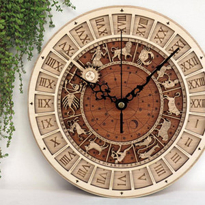 12 Constellations Venice Astronomical Wall clock Creative Wooden Clock Living Room Wall Quartz Home Decoration