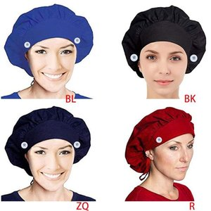 Unisex Solid Color Work Scrub Cap with Buttons Face Mask Holder Adjustable Tie Back Protect Ears Large Bouffant Hat