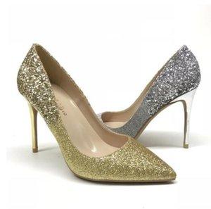 2020 Gold sequins new designs stiletto heel Cusp Heel height:10cm 8cm 12cm plus size 45 women's red sole high-heeled shoes dress shoes pumps