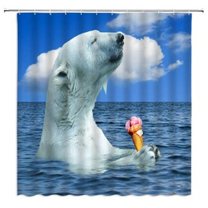Polar Bear Shower Curtain Funny Animal Decor Bear Enjoying Ice Cream in Ocean Sunny Sky Humor Art Home,Waterproof Blue White