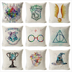 Harry-Potter Cushion Cover Cotton Linen Goblet of Fire The Deathly Hallows Home Decor Pillow for Sofa Cojines Case