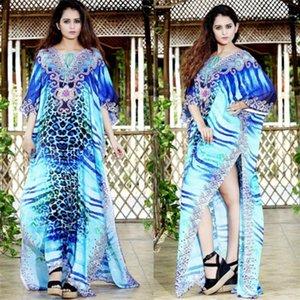 Leopard Stampa Kaftan Beach Cover Ups Oversize Blue Bohemian Robe Side Slit Maxi Abiti per le donne Vacanze Allentato Straight Pareos1