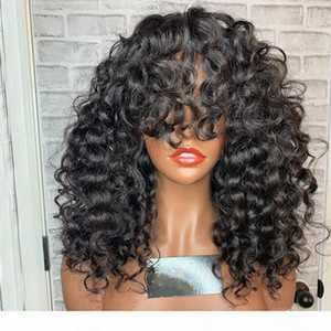 Natural Bouncy Curly Human Hair Lace Front Wigs with Bangs 180Density Full Lace Peruvian Remy Human Hair Silk Base Lace Wigs