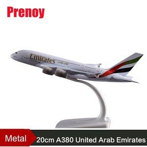 20 см A380 Объединенные Арабские Эмираты Модель самолета Emirates A380 Металлический Самолет Airbus Aviation Model Travel Art Коллекция Взрослая Игрушка Y200428