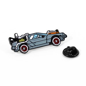 Cartoon Back To The Future Car Model Brooch Creative Kid's Backpack Badge Pins Cool Sports Car Jewelry Gift
