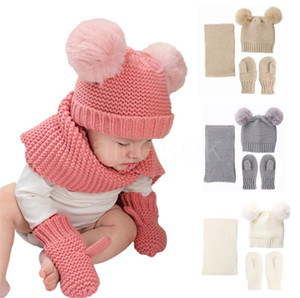 Ücretsiz DHL5 Renkler Bebek Çocuk Erkek Kız Fluffy Beanie Eşarp Eldiven Ile 3 Parça Örme Kış Şapka Şapka 0-3 T DB197