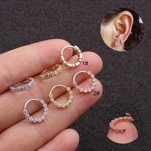 1Pc Gold-Silber-Farben-Cz Cartilage Ohrring Nase Hoop Nostril Ring öffnen Helix Tragus Daith Conch Rook Snug Ohr-Piercing Schmuck