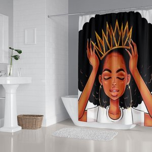 Hermosa niña africana tejido duradero cortina de ducha del cuarto de baño fijados cubierta de alfombras de baño WC cubierta Pad Mat 4 8 Patrones bbyRcs mj_bag