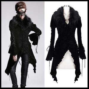 Devil Fashion Women Gothic Lolita Asymmetrical Jacket Detachable Fur Collar Steampunk Vintage Coats Women Party Long Coat