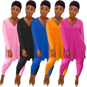 Women Lantern Sleeve Two-piece Set Casual Solid Color V-neck Split Top Pencil Pants Outfits Fashion T Shirt Trousers Matching Leisure Suits