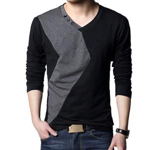 BROWON Марка осени Мужские футболки моды Уличная с длинным рукавом V шеи Цвет Лоскутная хлопка T Shirt Men 201004