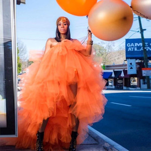 African Orange Tutu Prom Dresses Strapless Tiered Tulle High Low Dresses Evening Wear Cheap Puffy Yong Girls Cocktail Dress Ball Gowns