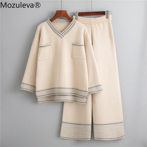 Mozuleva 2020 Winter Loose Knitted 2 Piece Set Women Tracksuit New Autumn Wide Legs Pant Suit Pullovers Sweater Set Knitted Suit