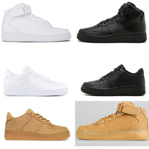 Classic Hombres Zapatos Air Force One 1 AF1 Running Zapatillas Plataforma Sombra Sombra Pale Spruce Aura Blanco Glaciar Black Black Aurora Classic Sports Shoe