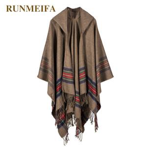 New design 100% ACRYLIC foulard femme Autumn   Winter warm fashion cloak poncho 130*150CM Black Gray Wine Red Khaki tippet shawl 201102