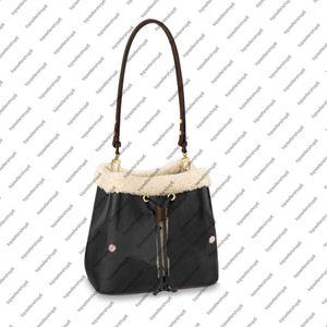 M56963 Néonoe mm Femmes Sucket Sac de godet Véritable peau de mouton plume cuir Crème teint Crème bleu caramel rose sac à bandoulière sac de sac à main