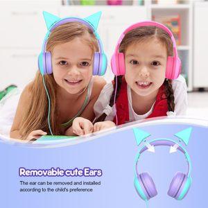 Cute Cat Ear Наушники Детей с ограниченным объемом Детей наушники стерео Проводных наушниками для мальчиков и девочек гарнитуры Дня рождения Xmas подарков
