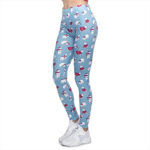 High Quality Women Legging Christmas Polar Bears Printing Leggings Fitness Slim High Waist Woman Pants