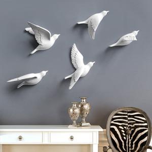 Reçine Kuşlar Yaratıcı Duvar 3D Sticker Oturma Odası için Hayvan Heykelcik Duvar Resimleri TV Duvar Arka Plan Dekoratif Ev Dekor Kuşlar
