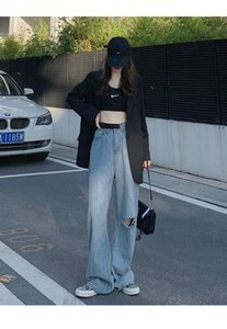 2020 Herbst Mode einstellbar Gürtel Ripping Jeans Frauen Sommer gerade, lose, hoch dünn, hyun ya mopping breite beinhose frauen jean w0104