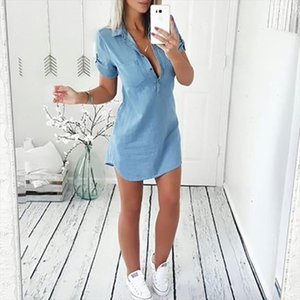 2021 Women Short Sleeve Slim Denim Dress Ladies Casual Shirt Dresses Casual Femme Clothes Costume Summer Fashion New Hot Sale