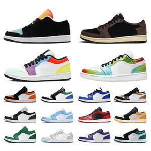 Nike Air Jordan Retro 1 Jordans 1s Jumpman أحذية أحذية كرة السلة المنخفضة للرجال والنساء Galaxy Mocha Obsidian Court Purple UNC Pine Green أحذية رياضية للرجال 36-45