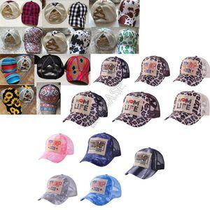 Ayçiçeği Ekose Leopar Patchwork Mesh Snapbacks Unisex Beyzbol Topu Geri Çapraz Kayışlar at kuyruğu Tutucu Tasarımcılar Şapkalar Güneşlik D92101 Caps