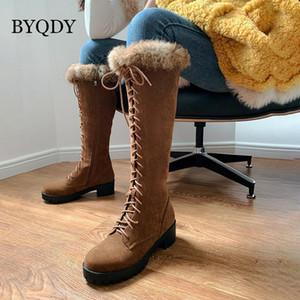 BYQDY 2021 Kadınlar Için Sıcak Kürk Kış Çizmeler Çapraz Kayış Bayanlar Kar Botları Ayakkabı Uyluk Yüksek Süet Diz Yüksek Patik Artı 41-451