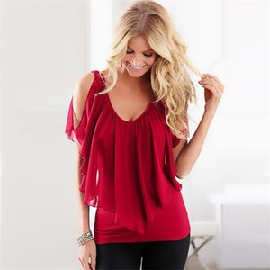 Basic Top Clothing New Style Summer Womens Patchwork Tshirts Solid Color Dolman Sleeve Chiffon Material Casual Extended Tees Womens
