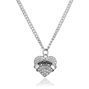 Diamond Peach Heart Pendant Necklace Mother's Day New Year Gift Family Necklace Crystal Heart Pendant Rhinestone Women's Jewelry EEF4295