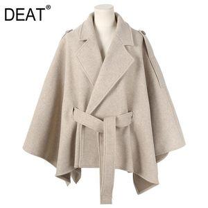 [DEAT] 2020 Nouvelle Automne Woollen Mode Femmes Manteau Cape lâche Lacets chaud épaissie solide Goutte-épaule Casual Slim TX029