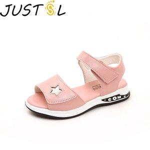 JUSTSL Girls Sandals 2019 New Summer Princess Shoes Kids Fashion Sandals Children's Beach Non-slip Shoes Size 27-37 1007