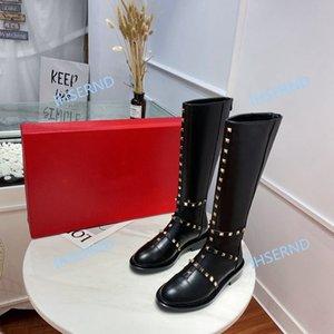 Valentino 2020 outono e inverno alta qualidade das mulheres mais botas, couro interior macio pode ser personalizado mais o logotipo de veludo rodada toe mulheres meados de tubo de