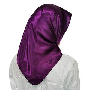 1 pc headpiece muçulmano cabeça lenços macio seda sensação shawl cabeça envoltório cor sólida lenço lenço grande quadrados lenços cachecol q sqcmvw