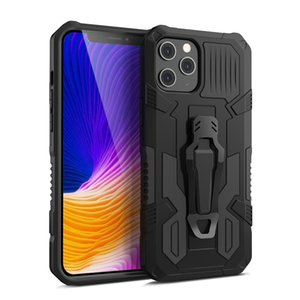 Mecha Armor Shockproof Kickstand With Clamp Holder Phone Case for iPhone XR XS 11 Pro Max for Apple Phone 12 Pro Max Anti-Fall Back Cover