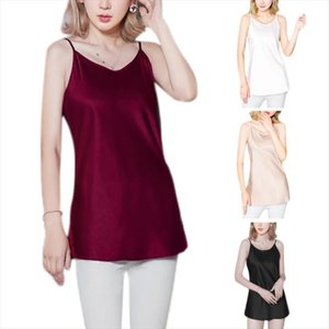 Womens Plus Size Imitated Silk Summer Basic Camisole Spaghetti Straps Glitter Solid Color Tank Top Pajamas Scoop Neck Lingerie