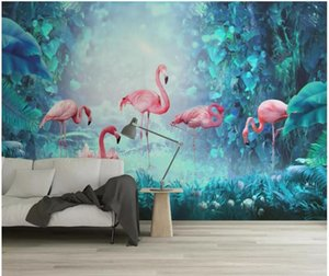 3d wallpaper custom photo Modern minimalist tropical rainforest flamingo 3d wall murals wallpaper for walls 3 d living room