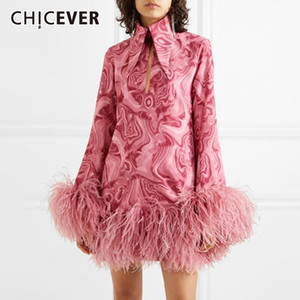 CHICEVER Pink Dress For Women Lapel Long Sleeve Print Hit Color Patchwork Feathers Designer Mini Dresses Female 2020 New Clothes