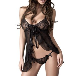 Sexy Black Lace Night Dress Women Two Piece Lingerie Robe Set Underwear Nightgown See Through Panties Mini Short Sleeping Dress