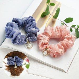 Корея Нежная вышивка цветок Pearl Rhinestone Подвеска шифоновое волос кольцо волос способа Scrunchies Вспомогательное оборудование