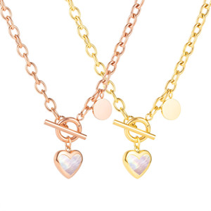 european and american trendy lockets necklace women heart pendants titanium stainless steel shell neckalce ladies gold rose gold party
