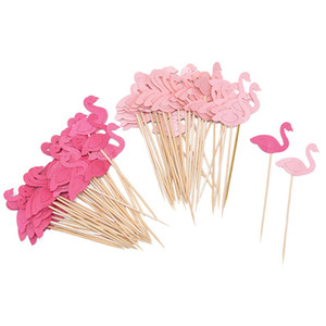 20Pcs Cupcake Topper Picks Flags Kids Baby Shower Birthday Wedding Cake Decoration Flamingo Party Supplies