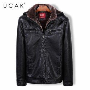 Ucak-Chaqueta cuero capucha para hombre, ropa informelle negocios, PU, Forro de lana con cremallera, U8005