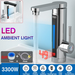 3000W Display de temperatura instantâneo Hot Water Tap Tankless Frente elétrico Cozinha instantâneo Esquentador Water Front Aquecimento Tap grátis