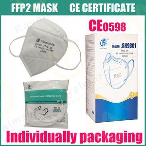 FFP2 CE CE Certificat Masque KN95 Designer Face Masque N95 Filtre de respirateur anti-brouillard et antibrouillis anti-poussière