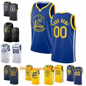 NCAA-kundenspezifischer goldener ZustandKriegerJersey Männer Frauen Kind Benutzerdefinierte Name Nummer 30 Curry 11 Thompson 35 Durant City Blau Basketball JE