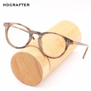 Hdcrafte madera Marco miope Glasses Hombres Mujeres lente clara Ronda de gafas de lectura óptica Espectáculo de madera retro marcos de las lentes