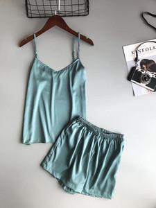 Gelo seda twinset sleepwears coreano cor sólida mulheres pijamas camisole pijama conjunto mulher verão colete shorts terno