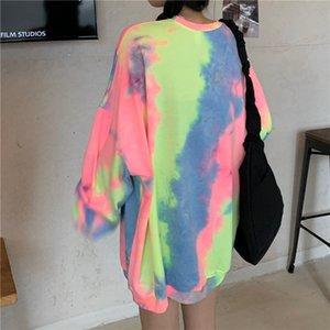 New spring 2021 printed tie dye feminine hoodie chic ladies streetwear pullovers basic long sleeve tops y432 92O3